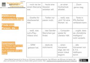 Karte Bingo mit 4x4 Feldern