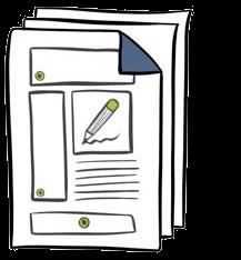 Ein Icon stellt eine Papier-Vorlage dar